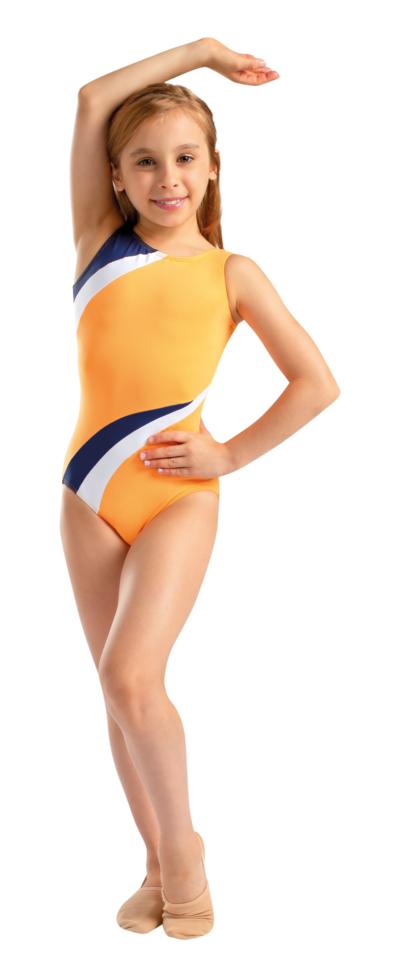 Gymdrakt oransj blå kvit